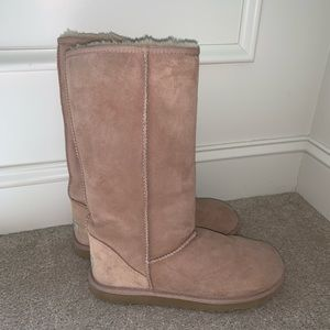 Tall classic mushroom-colored Uggs boots